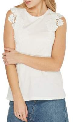 Dorothy Perkins Floral-Lace Trim Top