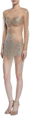 Jovani Fully Beaded Long-Sleeve Illusion Mini Cocktail Dress