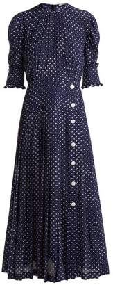 Alessandra Rich - Polka Dot Print Pleated Silk Dress - Womens - Navy White