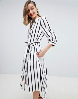 Selected Stripe Midi Dress With Tie Waist