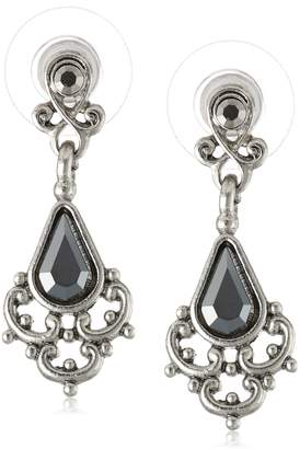 "Michael Kors Downton Abbey ""Carded"" Antique Silver-Tone Hematite Drop Earrings"