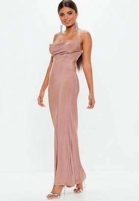 Missguided Mauve Slinky Cowl Maxi Dress