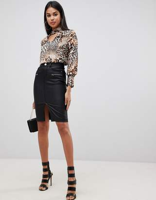 Lipsy coated pencil skirt in black