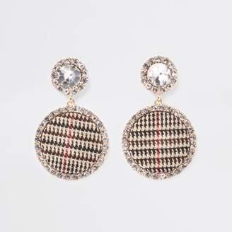 River Island Brown gold tone check rhinestone stud earrings