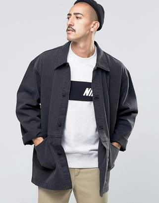 Asos Design DESIGN oversized denim worker jacket in black