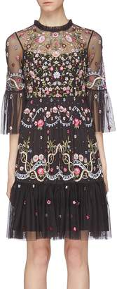 Needle & Thread 'Dreamers Lace' floral embellished tiered tulle dress