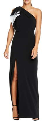 Halston Ruffle One-Shoulder Column Gown