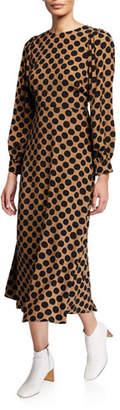 Rachel Pally Zola Dot-Print Long-Sleeve A-Line Dress