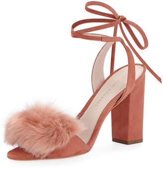 Loeffler Randall Nicolette Faux-Fur Ankle-Tie Sandal