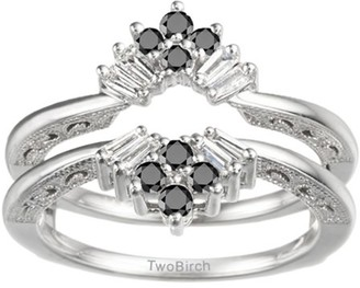 TwoBirch Black and White Cubic Zirconia Mounted in Sterling Silver Vintage Fan Style Ring Guard with Millgrained Edges and Filigree Design (0.43ctw)