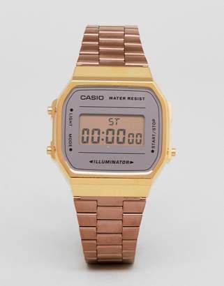 Casio A168W Digital Bracelet Watch In Rose Gold Mirror