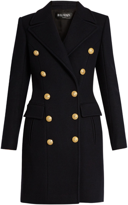 BALMAIN Double-breasted wool and cashmere-blend coat $3,382 thestylecure.com