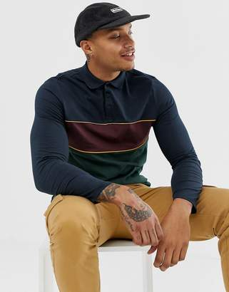 Asos Design DESIGN organic long sleeve polo shirt with retro color block in navy