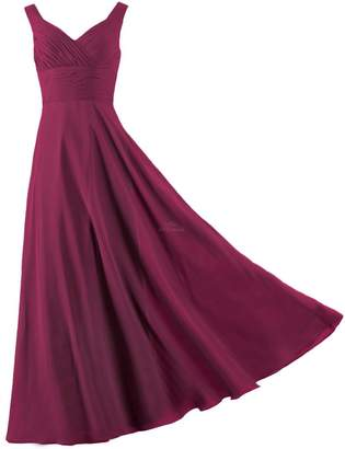 ANTS Formal Straps Pleated Long Straight Bridesmaid Dresses Prom Homecoming Size US