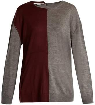 Stella Mccartney - Bi Colour Long Sleeved Wool Blend Sweater - Womens - Burgundy Multi