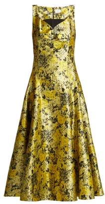 Erdem Verna Rose Jacquard Midi Dress - Womens - Yellow Multi