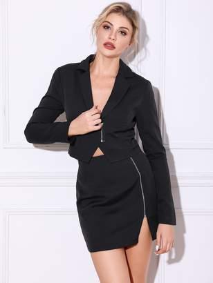 Shein Double Crazy Zip Front Crop Blazer & Skirt Set