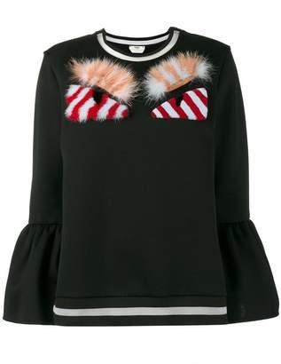 Fendi monster furry applique sweatshirt