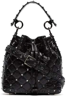 Valentino black Rockstud small studded leather bucket bag