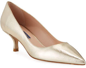 305816213d2 Stuart Weitzman Cindy Metallic Kitten-Heel Pumps