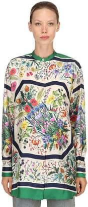 Gucci Festival Printed Silk Twill Shirt
