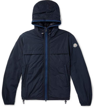 Moncler Webbing-Trimmed Shell Hooded Down Jacket - Navy