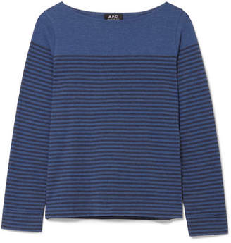 A.P.C. Marienere Liz Striped Cotton-blend Jersey Top - Blue