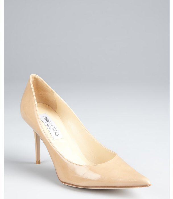 Jimmy Choo nude patent leather 'Agnes' pointed toe pumps