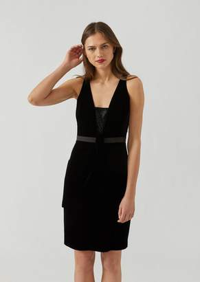 Emporio Armani Velvet Dress With Rhinestone Detail And Satin Belt