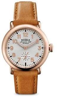 Shinola Runwell Rose Goldtone PVD Stainless Steel& Leather Strap Watch
