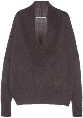 Agnona Gauzed Mohair And Cashmere Wrap Collar Sweater