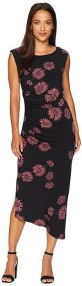 Vince Camuto Cap Sleeve Chateau Floral Side Ruched Dress Women's Dress
