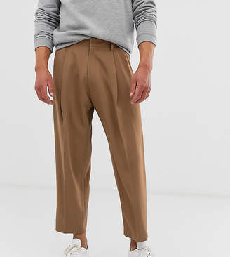 Noak wide leg suit pants in camel