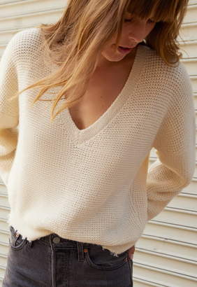 Nation Ltd. Zoe Waffle Deep V Sweater