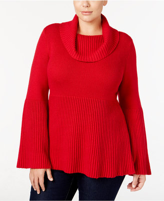Style & Co. Plus Size Cowl-Neck Bell-Sleeve Sweater, Only at Macy's $56.50 thestylecure.com