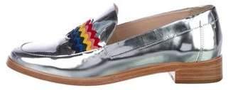 Loeffler Randall Metallic Round-Toe Loafers