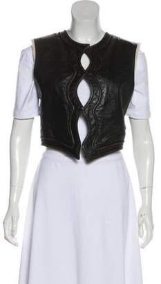 Saint Laurent Leather Open Front Vest