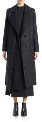 Wes Gordon Women's Speckled Wool Coat - Black - Size 10