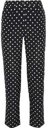 Dolce & Gabbana Cropped Polka-Dot Silk-Blend Slim-Leg Pants