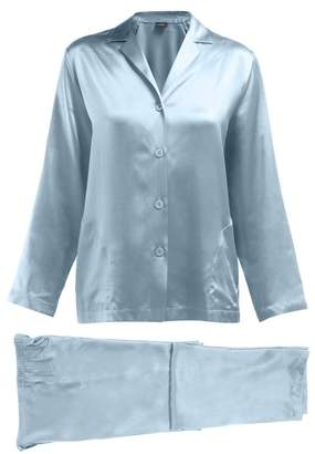 La Perla Silk Satin Pyjama Set - Womens - Light Blue