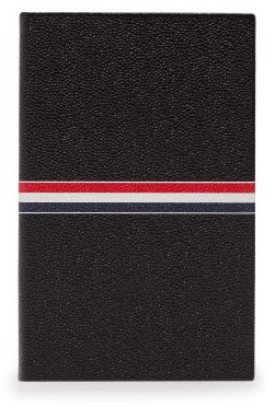 Thom Browne Stripe Print Pebbled Leather Notebook - Black