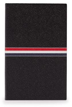 Thom Browne Stripe Print Pebbled Leather Notebook - Black