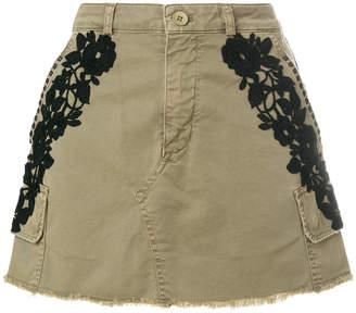 Mason floral appliqué denim skirt
