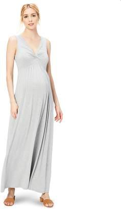 Daily Ritual Women's Maternity Sleeveless Gathered Center V-Neck Dress Dress, Grey, S