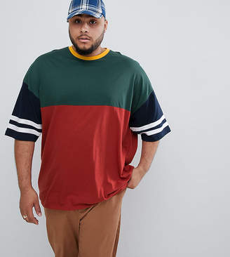 Asos DESIGN Plus oversized longline t-shirt with half sleeve with retro color block in burgundy
