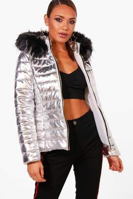 boohoo Sophie Metallic Padded Jacket
