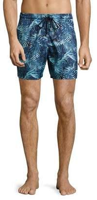 Vilebrequin Mahina Tropical Leaves Swim Trunks, Navy/Light Blue $250 thestylecure.com