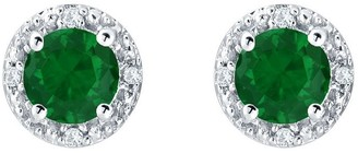 Sterling Silver 5mm Round Simulated Gemstone Earrings