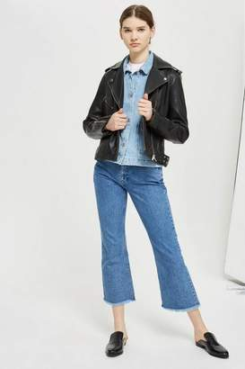 Topshop Tall Leather Biker Jacket