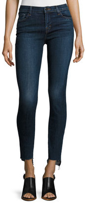 J Brand 811 Mid-Rise Skinny Staggered-Hem Jeans, Mesmeric $198 thestylecure.com